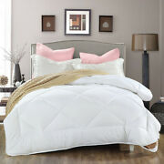 Bedding Set Quilt White Square Solid Color Comfortable Soft Double