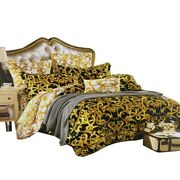 Design King Queen Size Coffee Golden Color Pattern Print Home Bedding Sets 4pcs