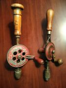 Antique Miller Falls No 77 Eggbeater Hand Drill And Unknown Brand Early 1900's
