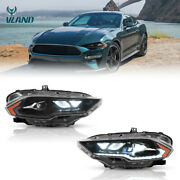 Upgraded Amber Full Led Drl Headlights Front Lamps For 2018-2021 Ford Mustang