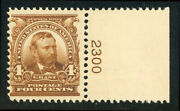 Us Scott 303 Ulysses S. Grant Brown 4andcent Perf. 12 With Plate Mnh Free Ship