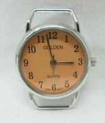 Golden Silver Matte Orange Round Watch Face For Jewelry Making Beading New Case