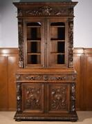 Antique French Black Forest/hunting Bookcase/gun Display Cabinet