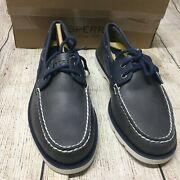 Sperry Top-sider Menand039s Leeward 2-eye Nautical Gray/navy Boat Shoes Size 7 M New