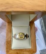 Natural Untreated Yellow Sapphire 4.56 Ct Solid 925 Silver And Gold Menand039s Ring