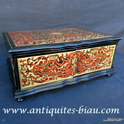 Stamped Tahan Jewelry Box In Boulle Marquetry 19th Napoleon Iii Period