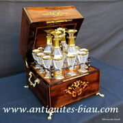 Tantalus Box In Marquetry Charles X 19th Century Baccarat - Crystal Complete
