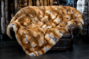 1343 Red Fox Fur Blanket From Canadian Red Fox Genuine Fur Throw Real Fur Plaid