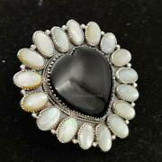 Sterling Silver Handmade Heavy Black Onyx Heart And Mother Of Pearl Ring Gift