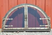 Unique Fireplace Oven Two Glass Door Arch Blacksmith Hammered Steel In/outdoor