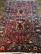 Antique Mahal Near Eastern Hand-woven Rug Natural Dyes Circa 1900 5and0394 8and0392