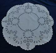 Vintage Heirloom Tablecloth Centerpiece Broderie Whitework Embroidery Linen