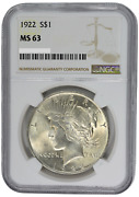 U.s. Peace Silver Dollar 1922 Ngc Ms63 Certified Uncirulated 1 Coin
