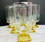 Vintage Parfait Yellow Glassware Tumblers Square Footed Set Of 6 Collectibles