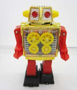 Tin Toys Japan New Gold Gear Robot Moving Sparkling Figure Vintage