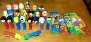 Vintage Lot Of 28 Pez Dispensers - Mickey Snoopy Peanuts Goofy Ganzo And More