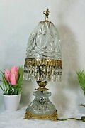 Gorgeous Vintage 1970 French Crystal Glass Drops Table Lamp Ballerina Figurine