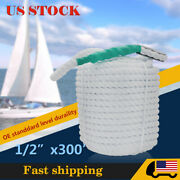 1/2and039and039 Andtimes300and039 Ft Twisted Boat Line Dockline Mooring Docking Rope Utility Rope
