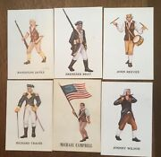Marx Warriors Of The World Cards - Us Revolutionary War Soldiers Set Of 6 Exmt