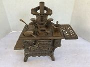 Vintage Crescent Cast Iron Salesman Sample Toy Stove With Accessories