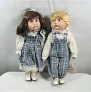 Bradley's Collectible Dolls Porcelain Boy And Girl Sad Teary Eyes No Box