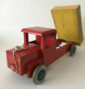 Vintage 1960s Wooden Pull Toy Red And Yellow Tipper Truck