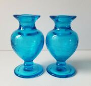 Vintage Pair Of Perfume Bottles Aqua Blue Etched Glass Ground Neck No Stoppers