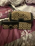 Coach Brown Teal Purse Handbag Matching Wallet Checkbook Cover Set Authentic