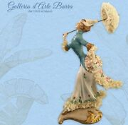 Porcelain Capodimonte Lady With Parasol, Gust Of Vento. Decoration Exclusive