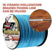 Ashconfish Braided Fishing Line-16 Strands Fish Wire Hollow Core 1000m 20-500lb