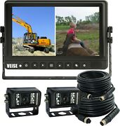 Veise 9 Inch Reverse Rear View Back Up Camera System 2 Cameras And Split Lcd