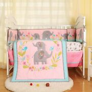 7 Pcs Baby Girl Bedroom Bedding Set Quilt Bumpers In The Crib Mattress Cover