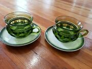 Indiana King Crown Depression Glass Ware Cup Green White Saucer Coffee Breakfa