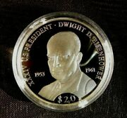 2000 Republic Of Liberia 20 Dwight D. Eisenhower Proof .999 Silver Coin In Case