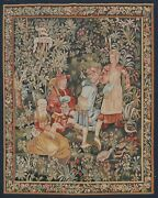 Tapestries Pictorial Oriental French Area Rug Vegetable Dye Hand-woven Wool 5x7