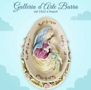 Capodimonte Porcelain Madonna With Child Oval Bas-relief Wall