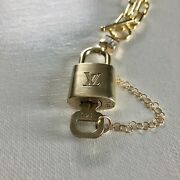 Key To My Heart Brass Padlock And Square Crystal On 24k Gf Paperclip Chain