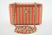 21p Red Beige Raffia Cc Small Vanity With Chain Shoulder Crossbody Bag