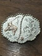 10k Gold And Sterling Silver Horse Racing Western Belt Buckle Philippa Equestrian