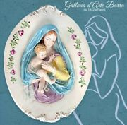 Capodimonte Porcelain Madonna With Child Oval Bas-relief Wall Clock