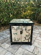 Vintage Chinese Night Stand / Side Table / Cabinet With Glassandnbsp Mother Of Pearl