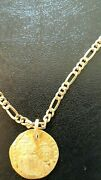 Byzantine Gold Coin Modified Into Stunning/eye-catching Necklace With14k G Chain
