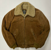 Vtg 60s Cooper Suede Leather Sherpa Jacket Menand039s 42 M Brown Ranch Trucker Worn