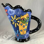 """Milson And Louis Hand Painted Ceramic Cats Flowers Multi Color 10.25"""" Pitcher"""