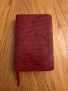 Holy Bible Nelson Rare 2003 New Century Version Mini Red Crocodile Print Leather