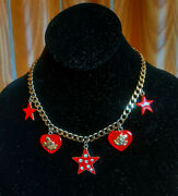 Wendy Gell @ Disney Co. Mickey And Minnie Mouse Red Enamel/gold Chain Necklace