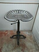 Cast Iron Tractor Seat Bar Stool Adjustable Height Turn Lever With Foot Rest