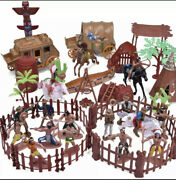 Toy 61 Pcs Wild West Cowboys And Indians Plastic Figures Soldiers For Kids,boy's