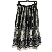 Casting Women Vintage Black Printed Flare Swing Long Skirt Size S Made In France