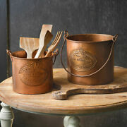 Set Of Two Copper Buckets Vintage Primitive For Kitchen Utensils And Storing Stuff
